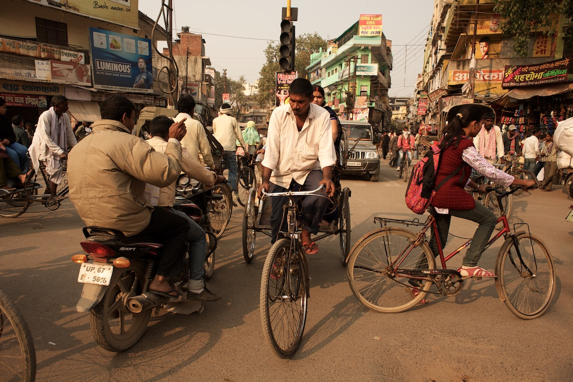 Bicycles and rickshaws on the streets of varanasi