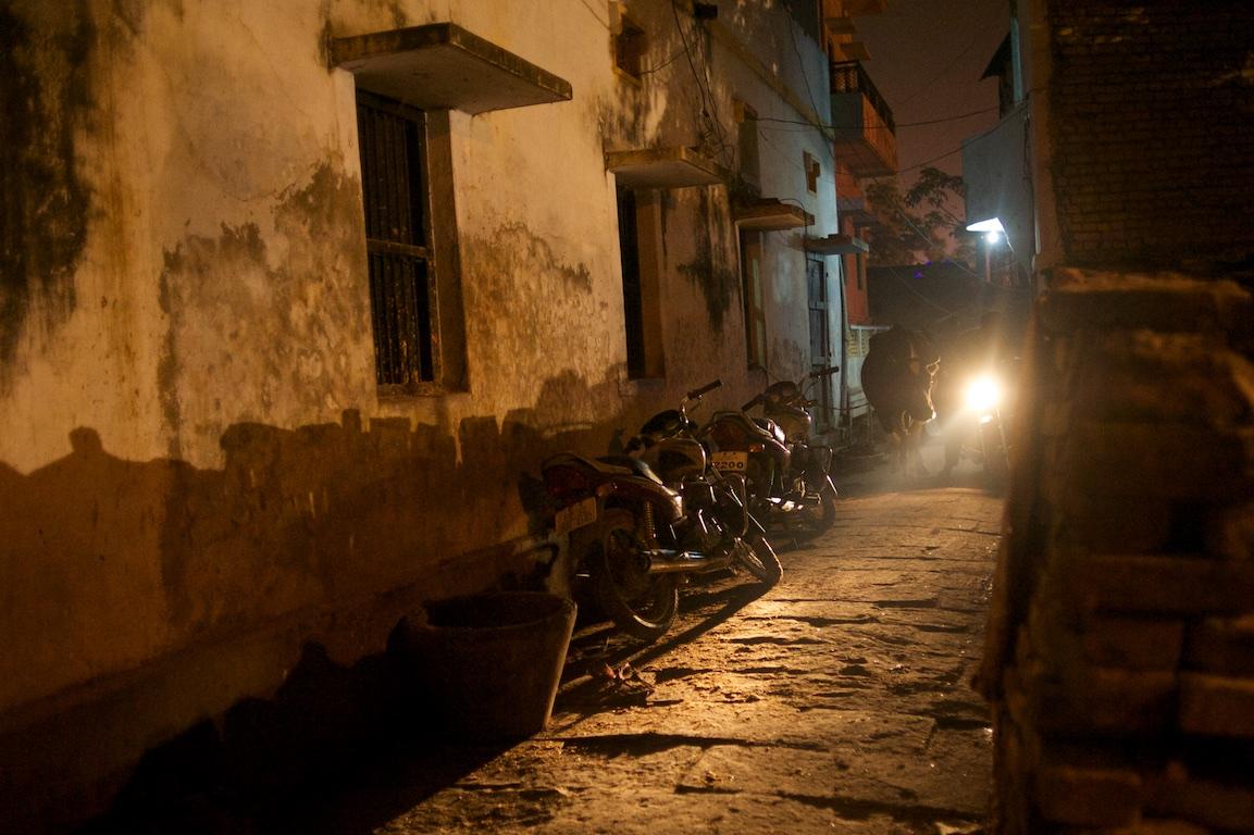 Photograph of ally in Varanasi at night