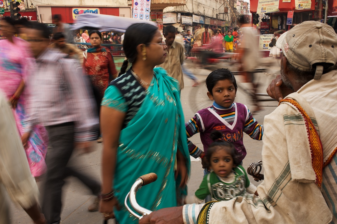 Photograph of many people on Varanasi street