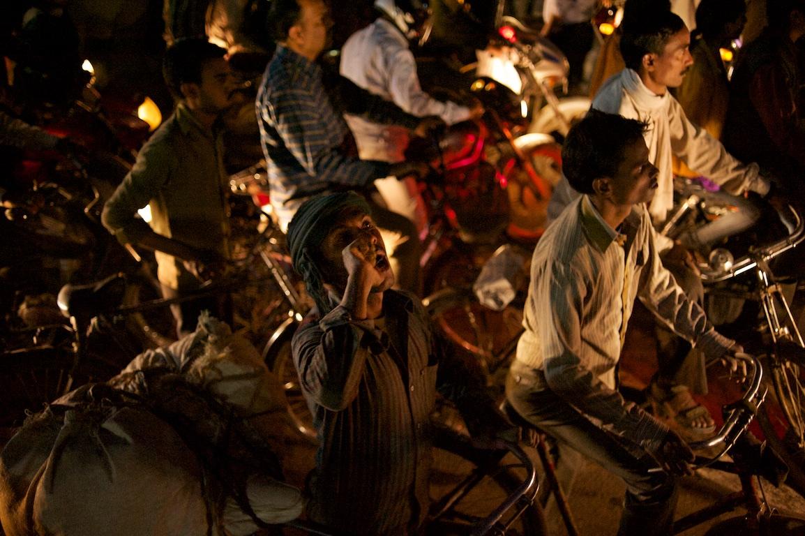 traffic jam of motorbikes and rickshaws in varinasi