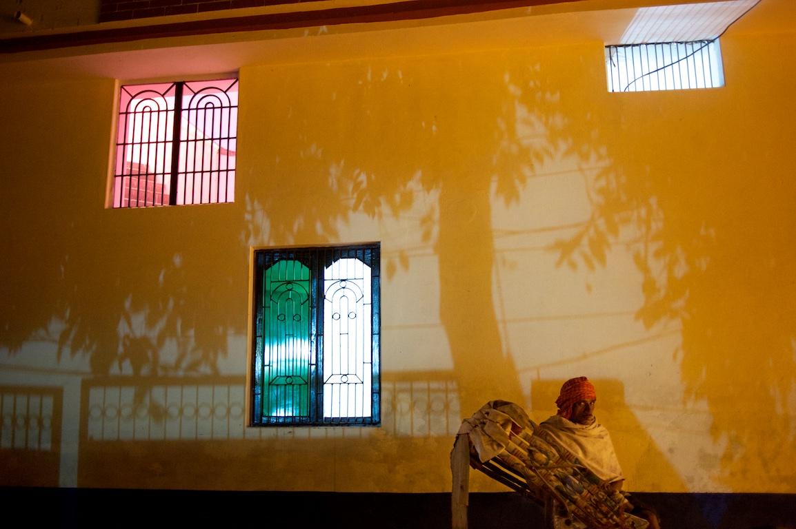 photograph of shadows from trees and rickshaw in varanasi