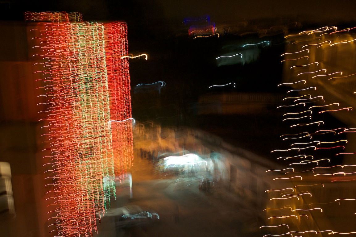 Blurred effect of photograph of street lights in varanasi