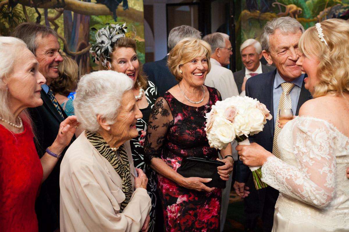 guest congratulate martine after her wedding