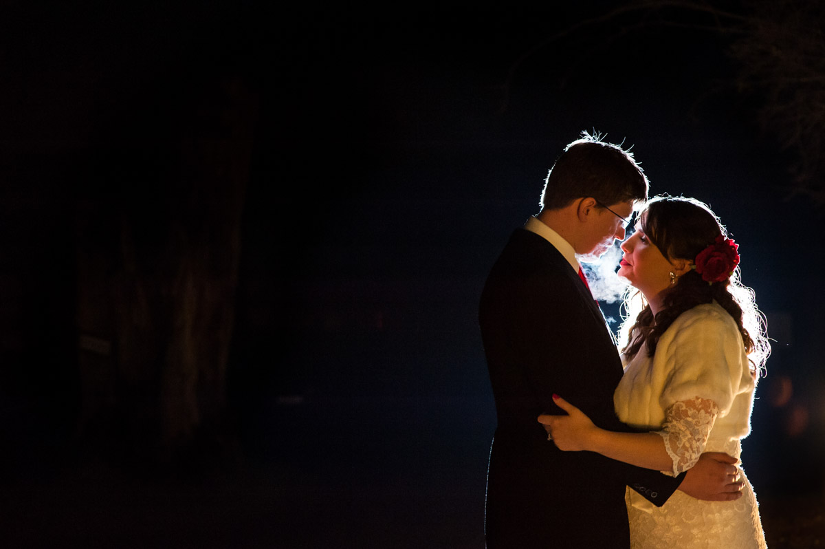 evening portrait of charlotte and mark at kent wedding venue nursed court