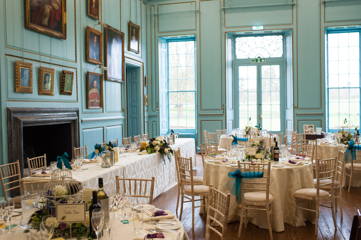 The Great Hall at Bradbourne House set out for a wedding breakfast