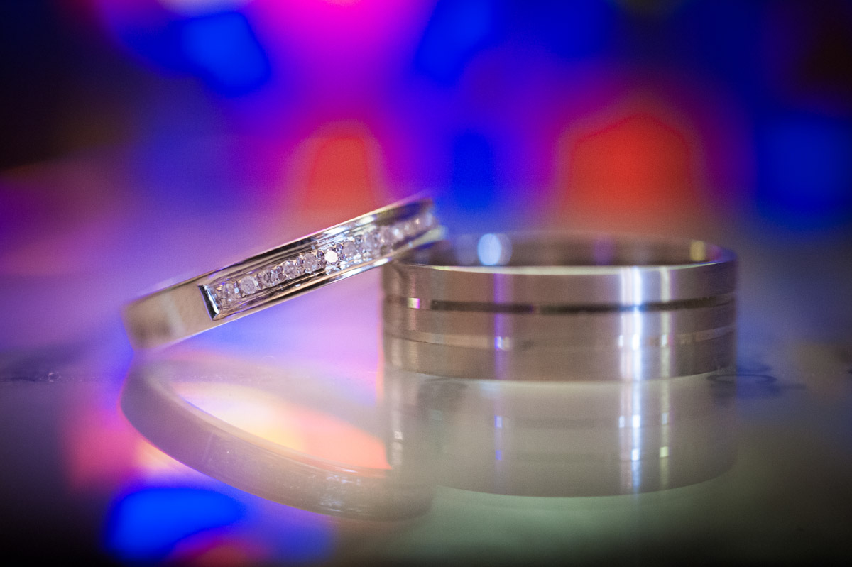 Photograph of wedding details such as these wedding rings are important parts of the wedding day