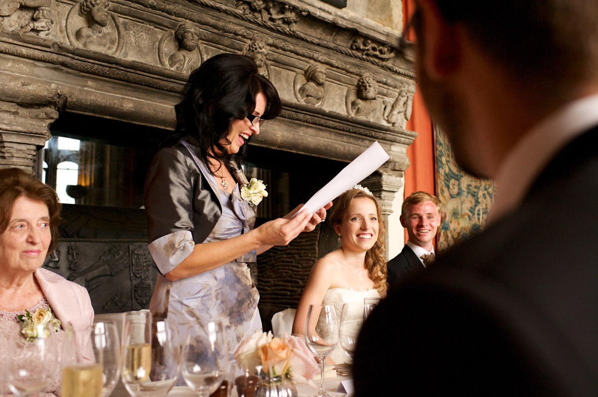 mother of the bride makes her speech on time and edmunds wedding day at leeds castle in kent