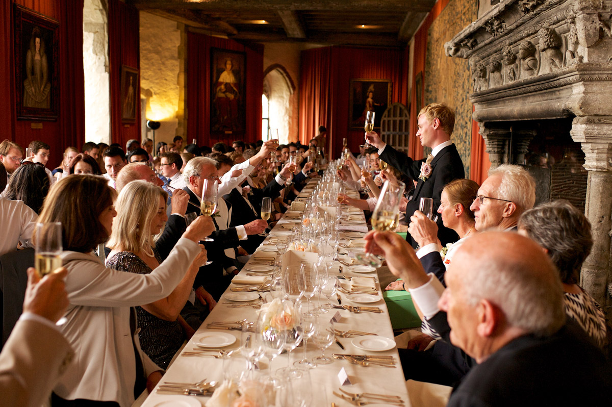 wedding toast at leeds castle after edmunds speech