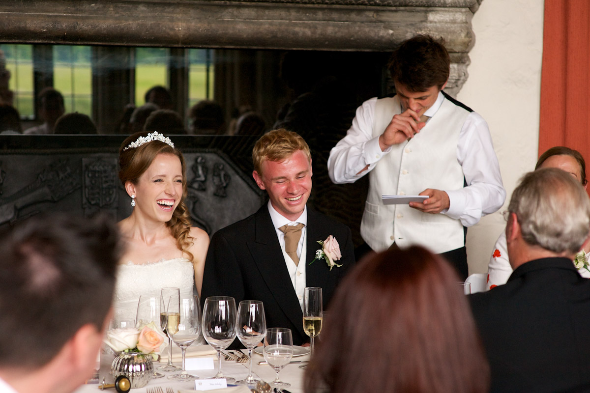 best man makes his wedding day speech at timea and edmunds reception at leeds castle in kent