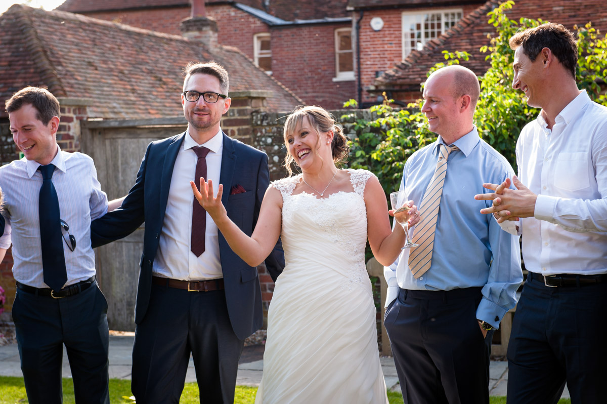 Guests are photographed at Winters Barn wedding reception