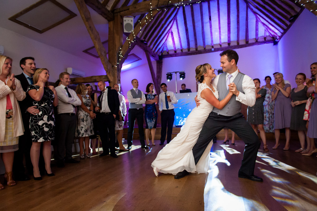 Photo of wedding couple during their first dance at Winters Barn, Canterbury