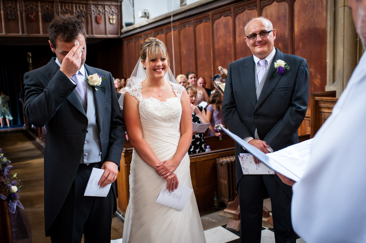 Groom sweats at The Alta on his wedding day at St Edmunds Chapel, Canterbury