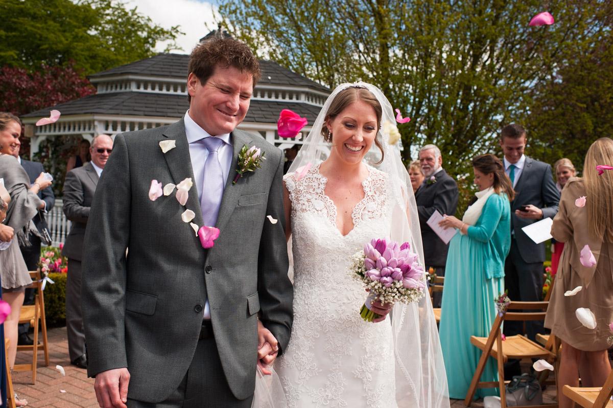 Confetti photograph at Bronwyn and Warricks wedding at the old kent barn