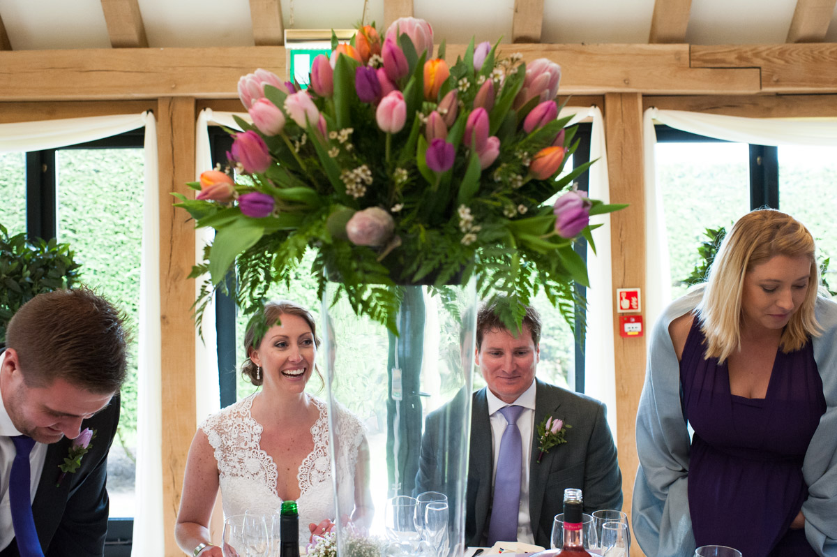 Photograph of tulip table decoration at The old kent barn wedding venue