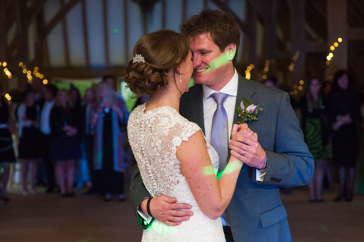 Warrick and Bronwyn photographed doing their first dance at the old kent barn