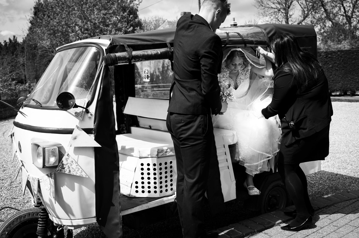 Bronwyn arrives in tuk tuk for wedding ceremony at the old kent barn
