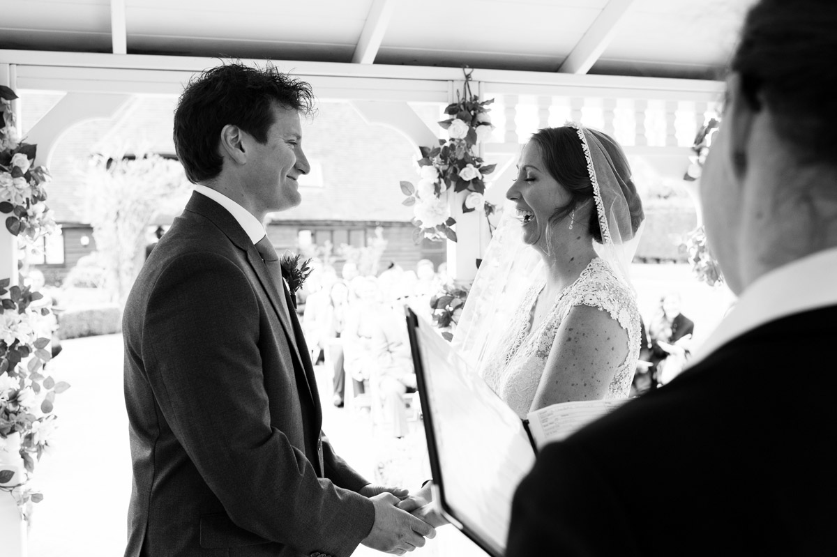 Photograph of the old kent barn wedding gazebo as Warrick and Bronwyn take their vows