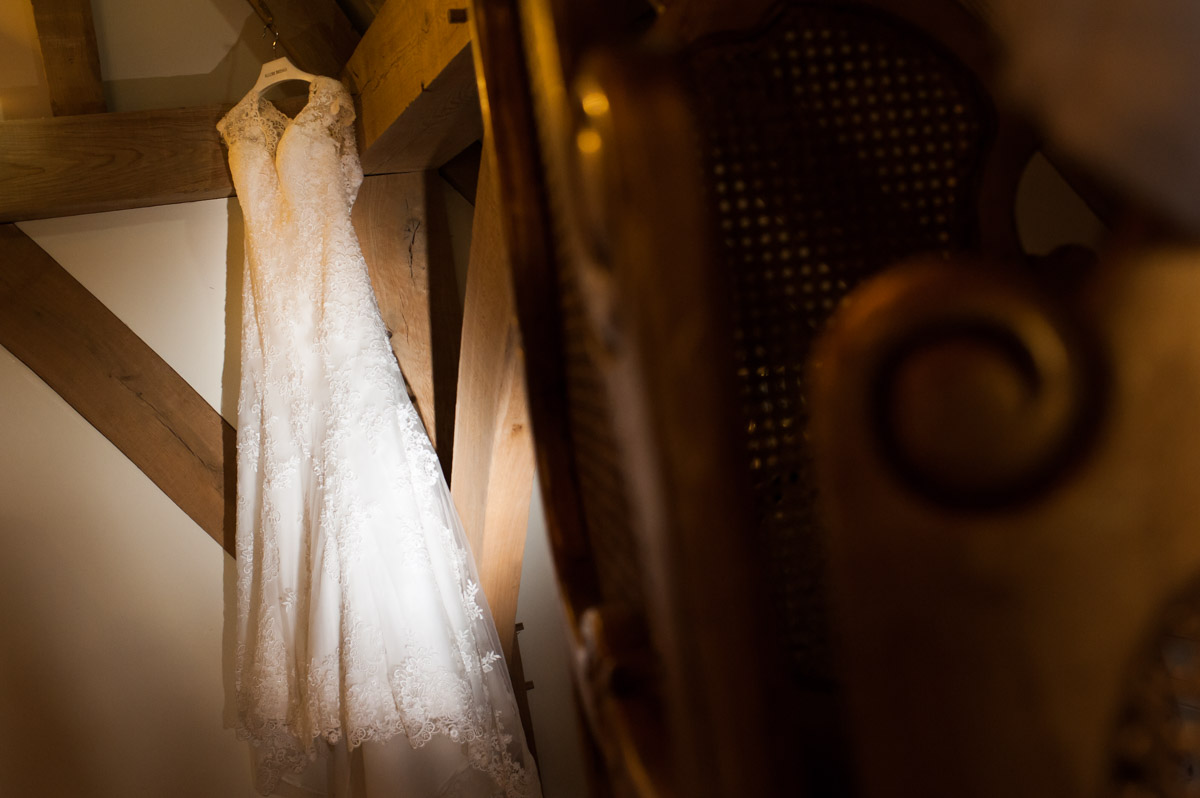 Wedding dress photograph at The Old Kent Barn