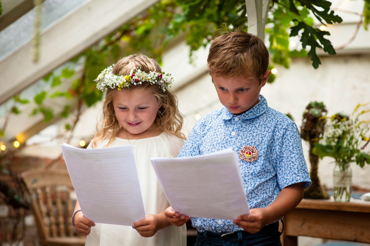 wedding readings by children at rachel and daniels kent wedding at the secret garden