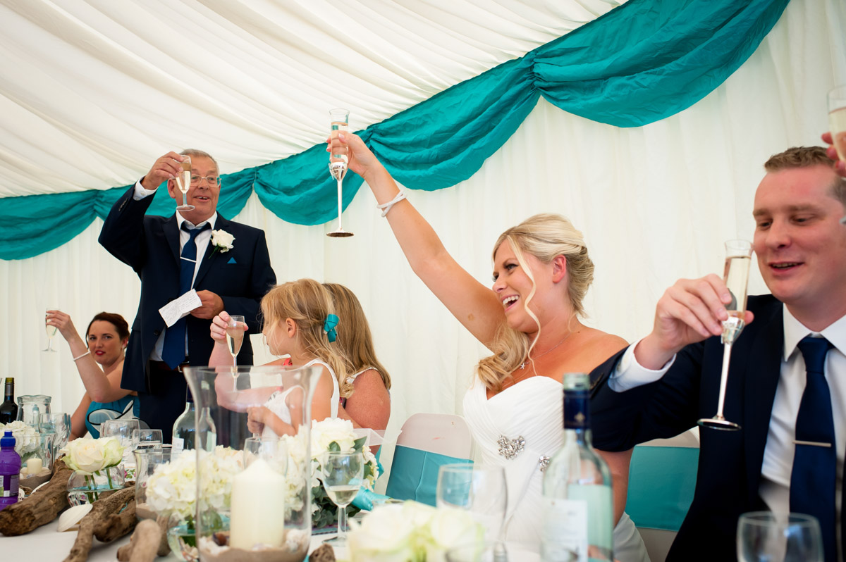 Photograph of wedding speech toast at Lauren and Jays whitstable wedding