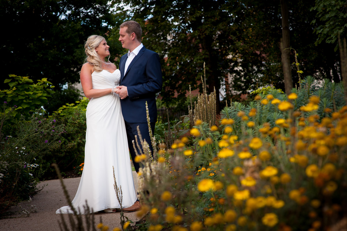 Photograph of Lauren and Jay during their wedding reception at Kent venue whitstable castle