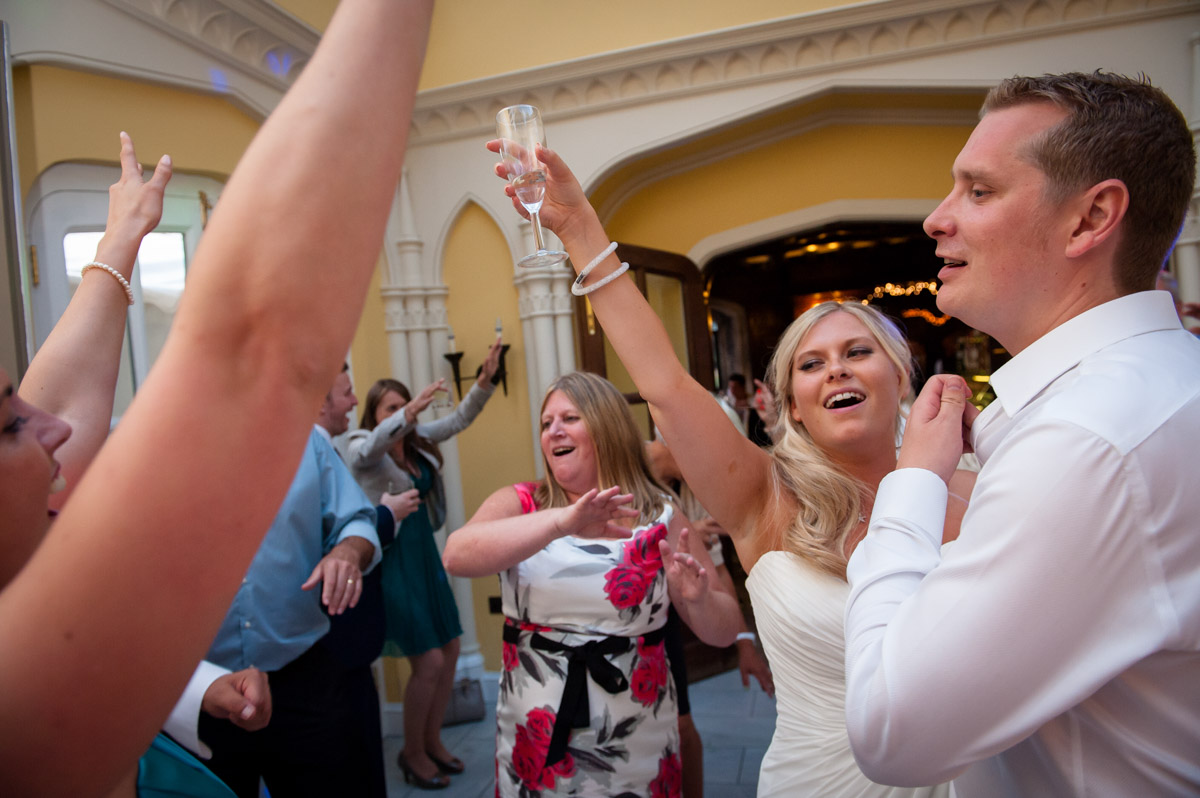 Whitstable castle wedding, bride and groom dancing
