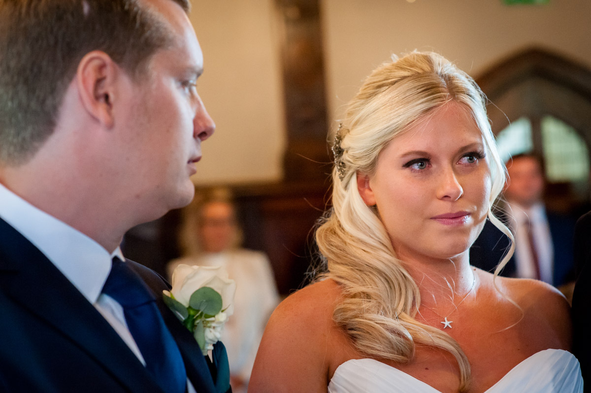 Photograph of Lauren during her whitstsable castle wedding ceremony