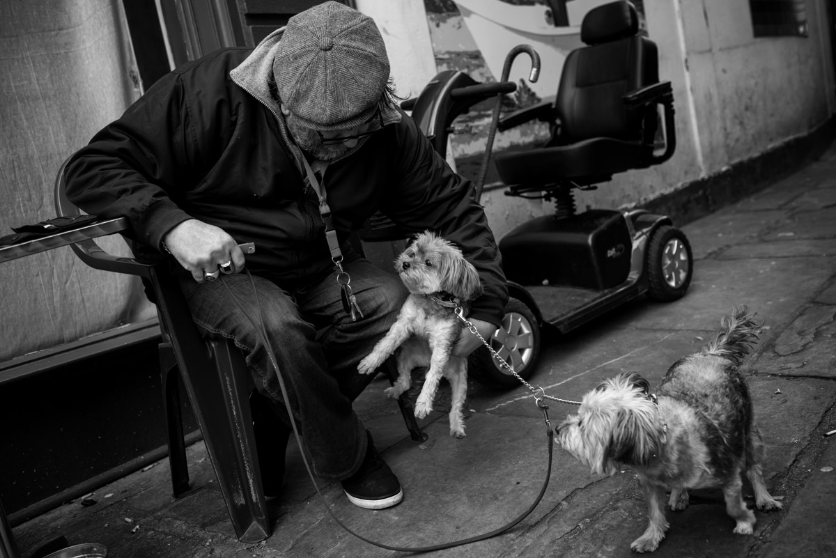 Street photograph of man and his two dogs in Folkestone town centre in Kent