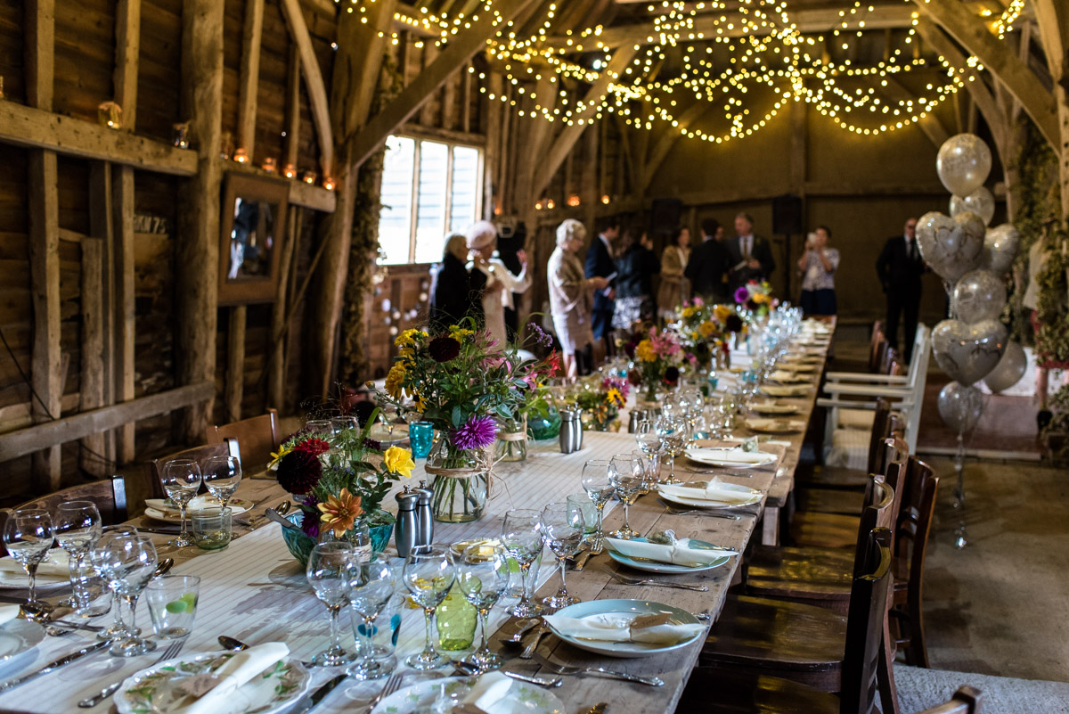 Decorated barn at Jane and Stevens Kent wedding reception