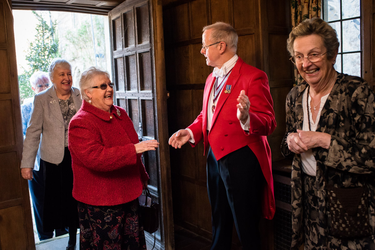 Toastmaster invites wedding guests into Lympne Castle