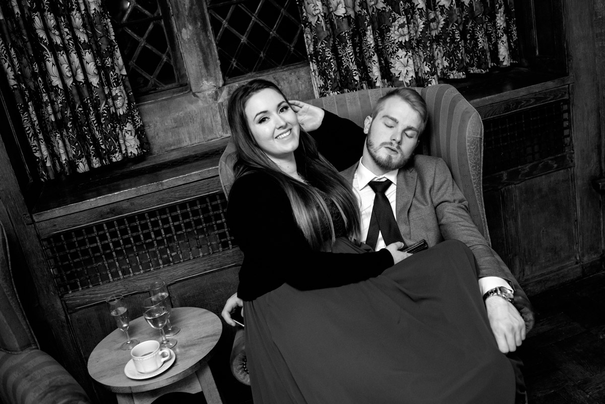 Wedding guests falling asleep at Sue and Nicks reception at Lympne Castle
