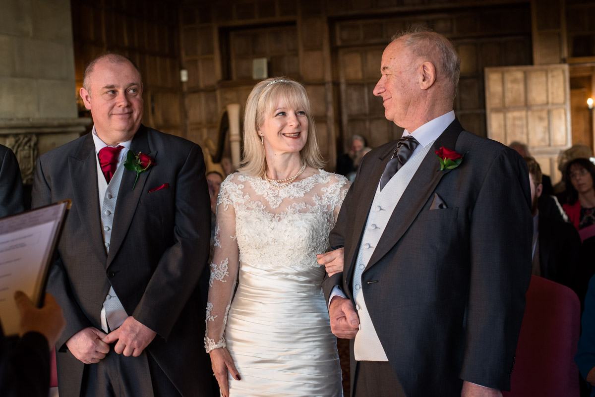 Sue is given away on her wedding to Nick at Lympne Castle in Kent