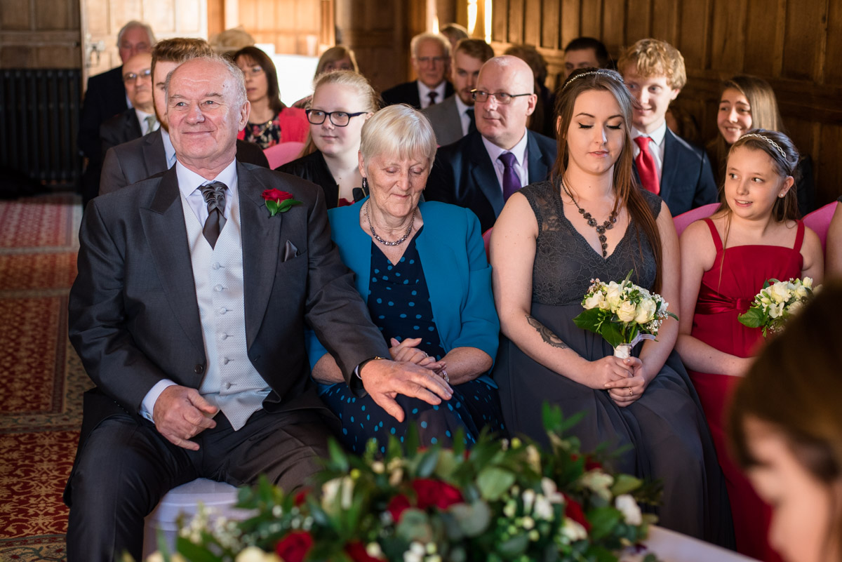 Sue's family are photographed during the ceremony at Lympne castle in Kent