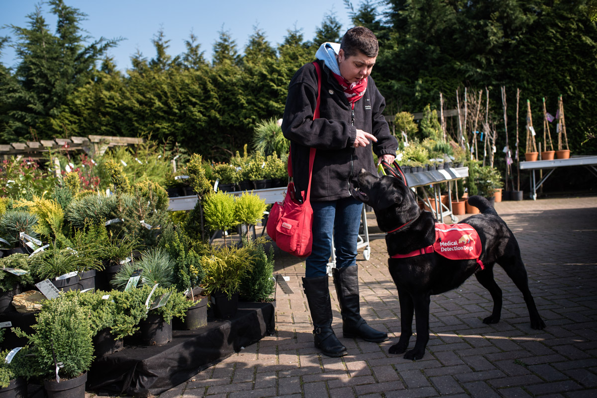 Claire and her dog Pal photographed at Kent garden centre