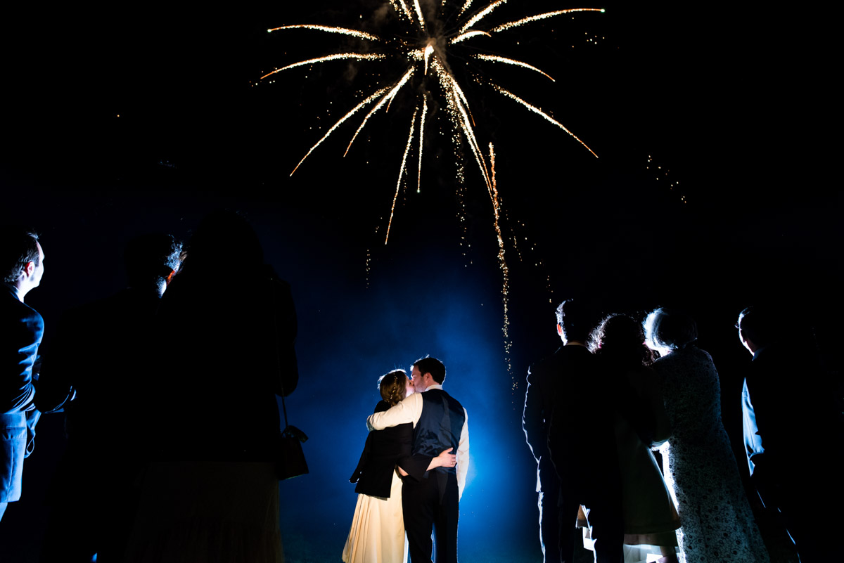 Wedding fireworks photograph at Flora and James reception