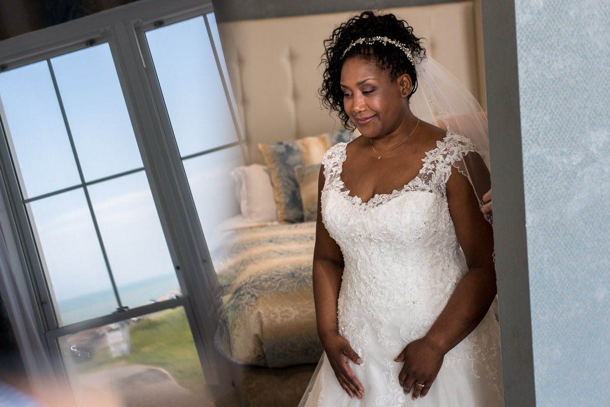Photograph of Juliette getting ready for her Hythe Imperial wedding in Kent