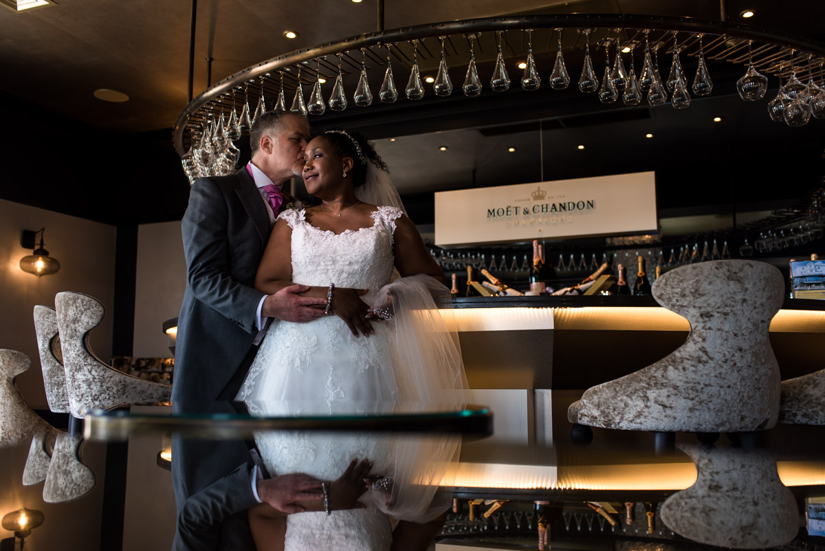 Photograph of Juliette and Darren in the champagne bar at the Hythe Imperial in kent