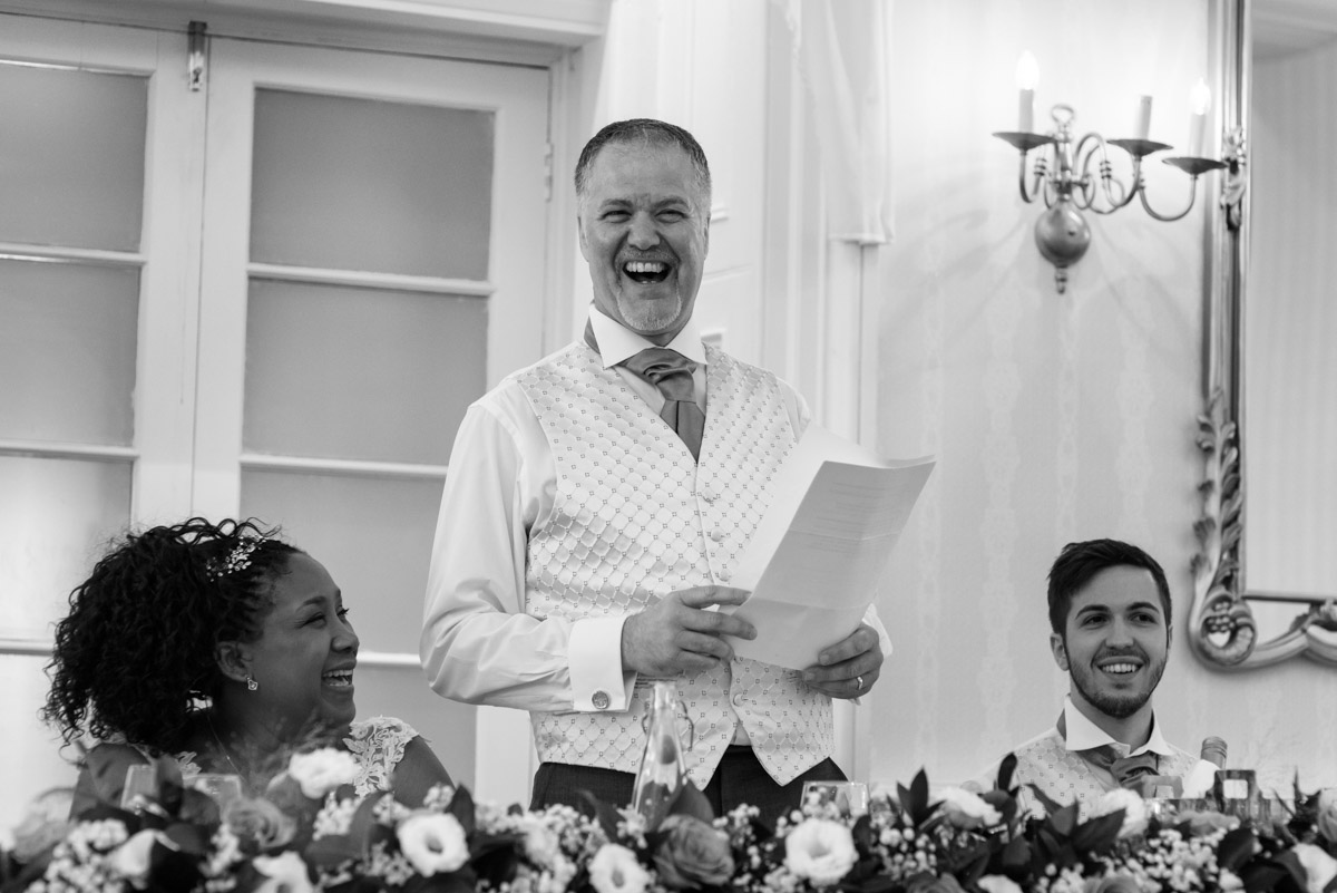 Darren is photographed during his wedding speech at the Hythe Imperial