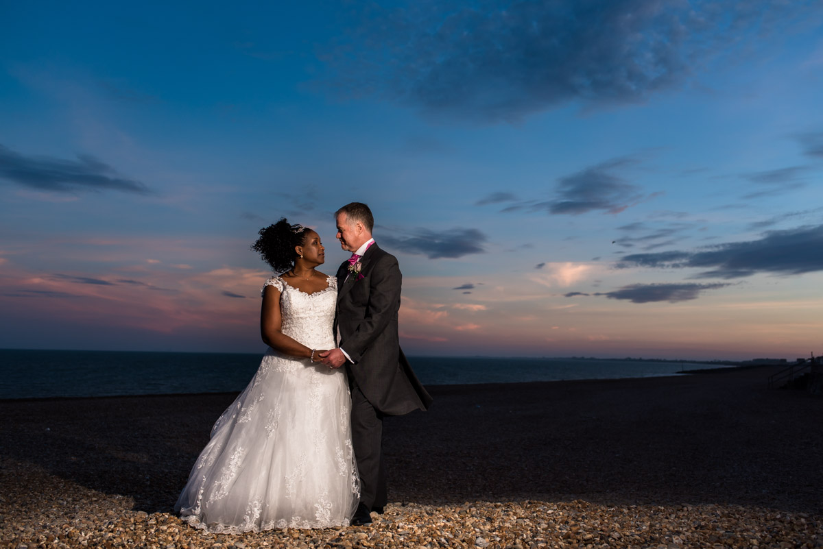 Hythe Imperial wedding photography, Darren and Juliette on the beech