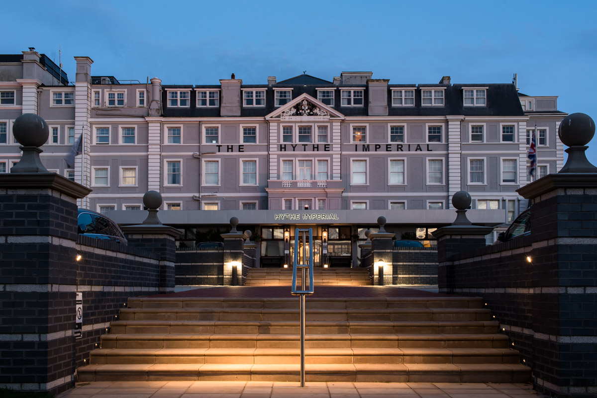 Hythe Imperial wedding photography, the hotel at dusk
