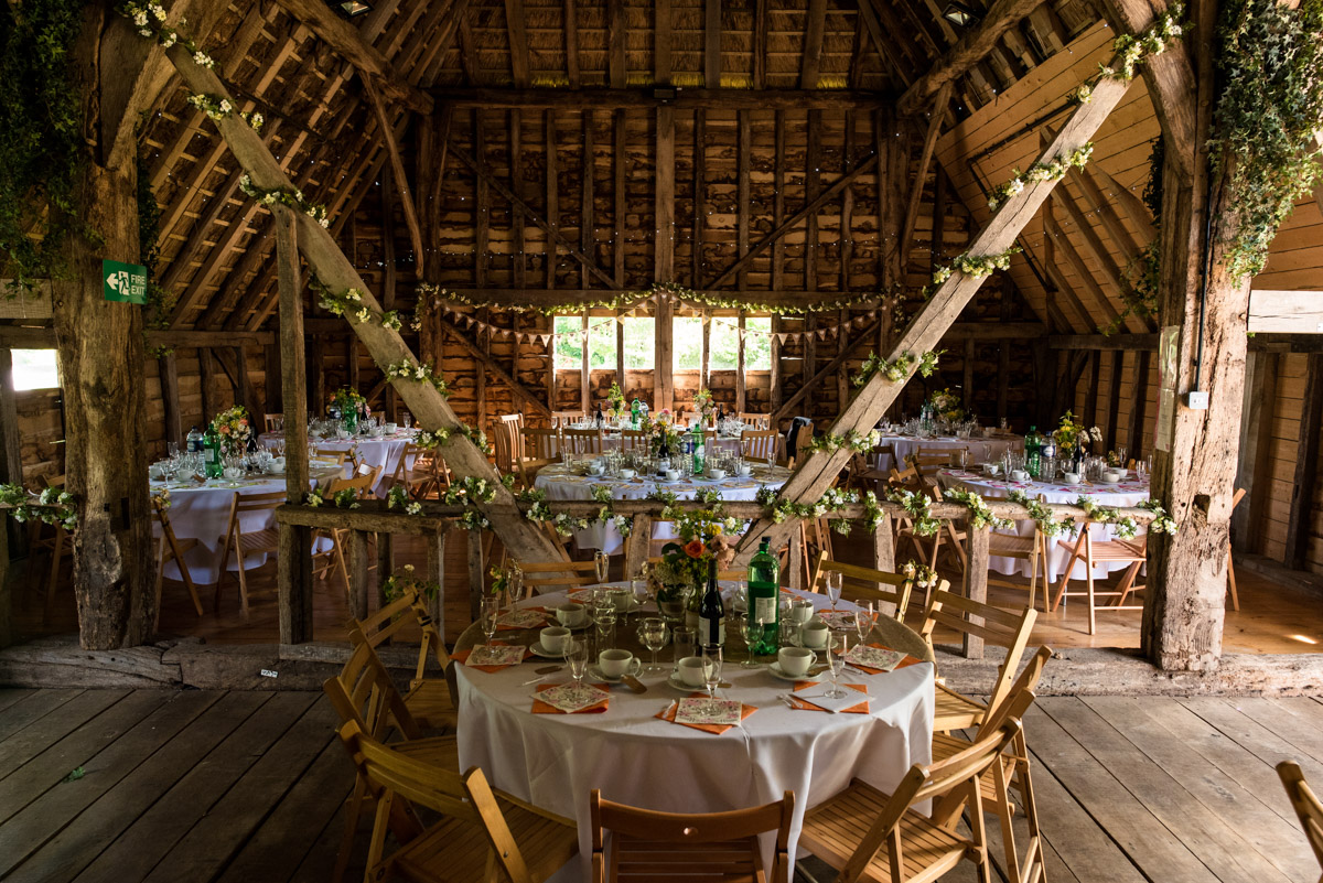 Photograph of inside Ratsbury Barn in kent on Beth and Toms wedding day