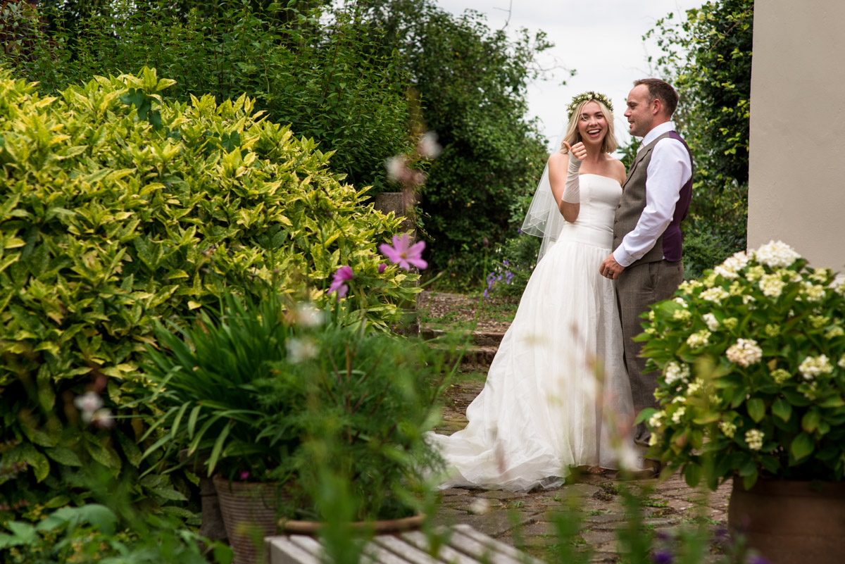 Wedding photograph of Anne and Josh at their garden reception
