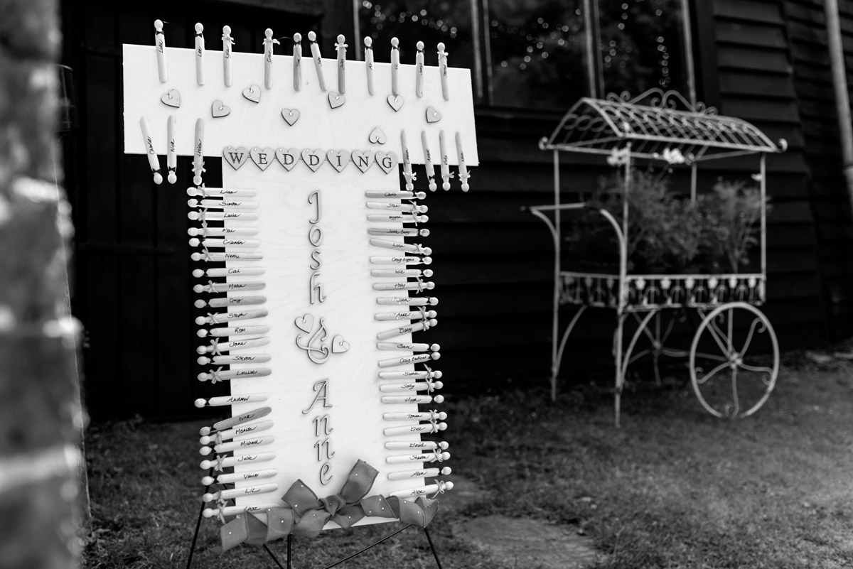 Photograph of Anne & Joshs wedding table plan