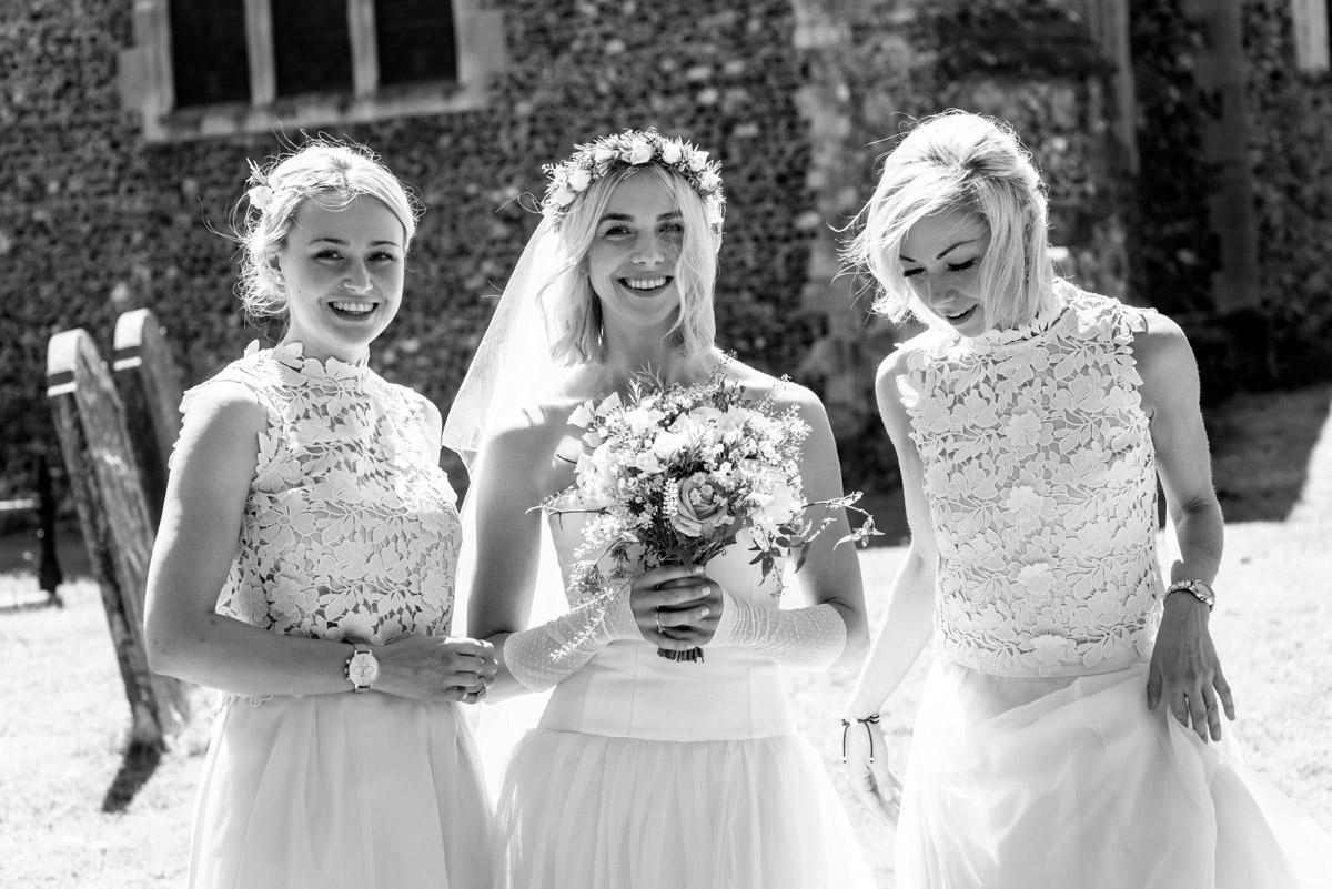 photograph of Anne and her sisters before her Kent church wedding