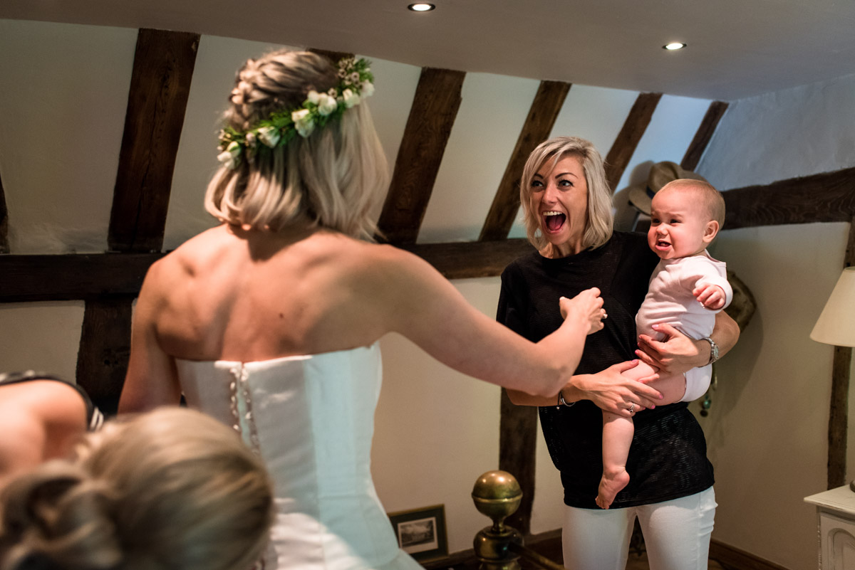 Photograph of Anne and her family during bridal preparations