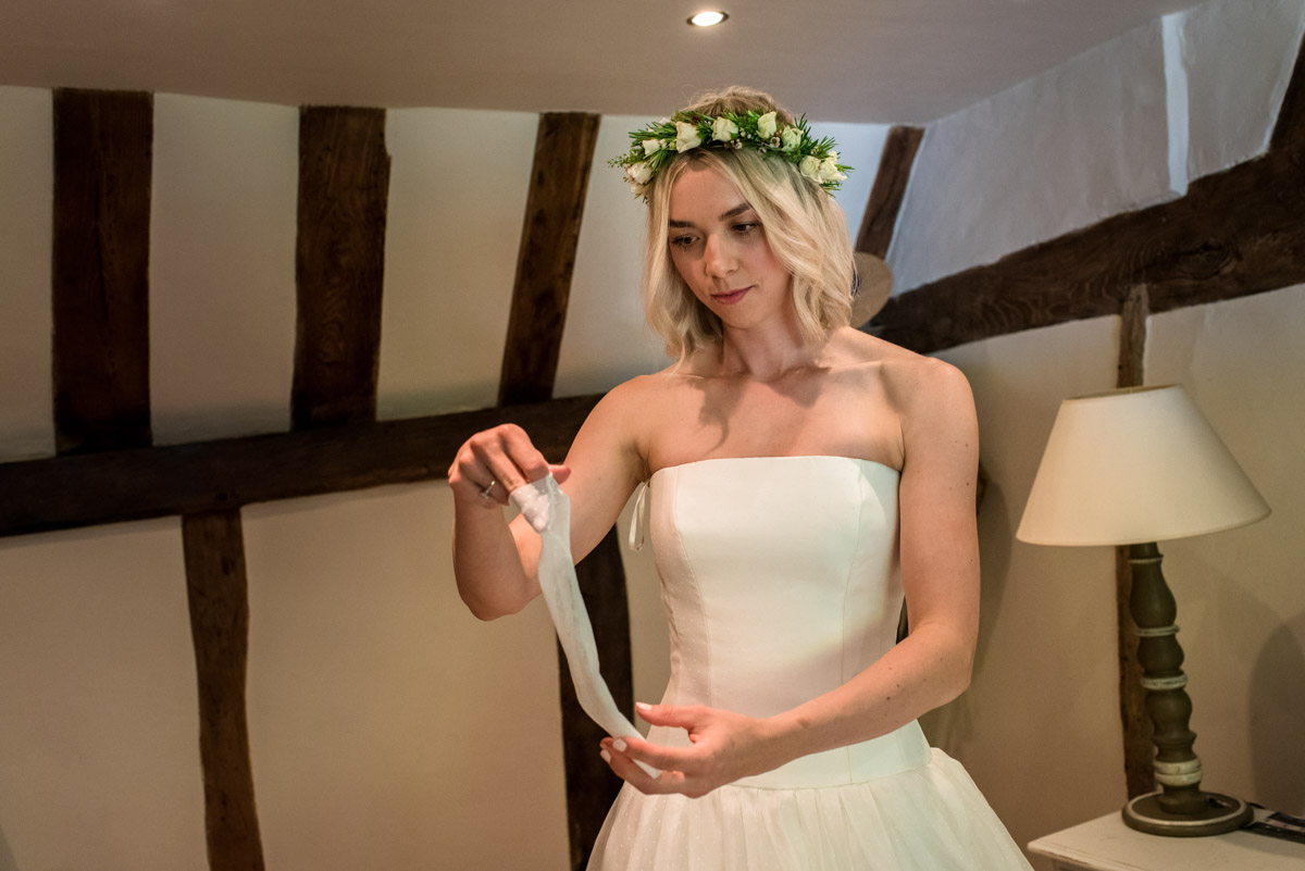 Photograph of Anne getting ready for her church wedding in Kent