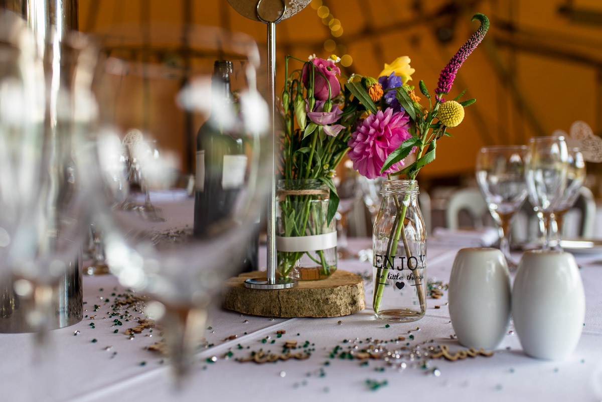Inside the tipis, The Gardend Yalding wedding photography