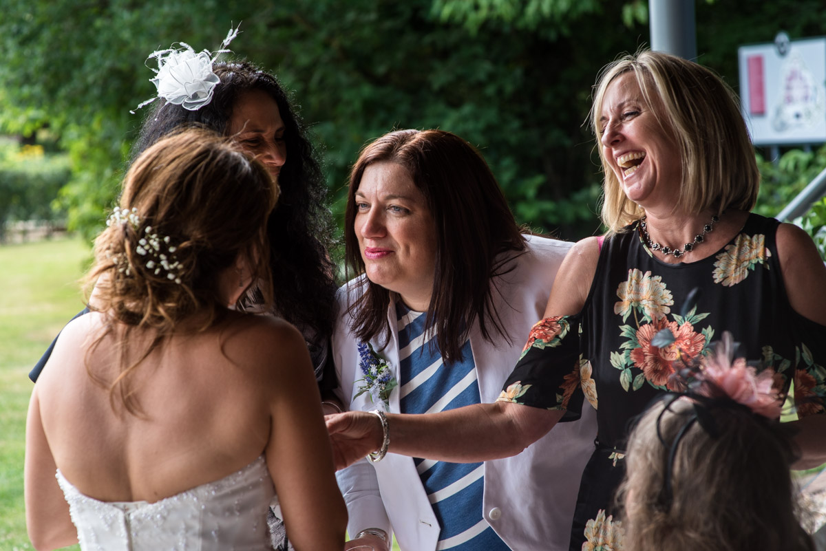 Photograph of Debbie and her friends at her wedding at The Gardens Yalding in Kent