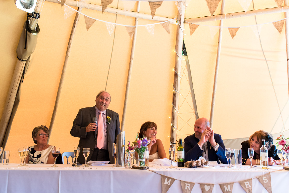 Photograph of the speeches inside the The Garden Yalding Tipis