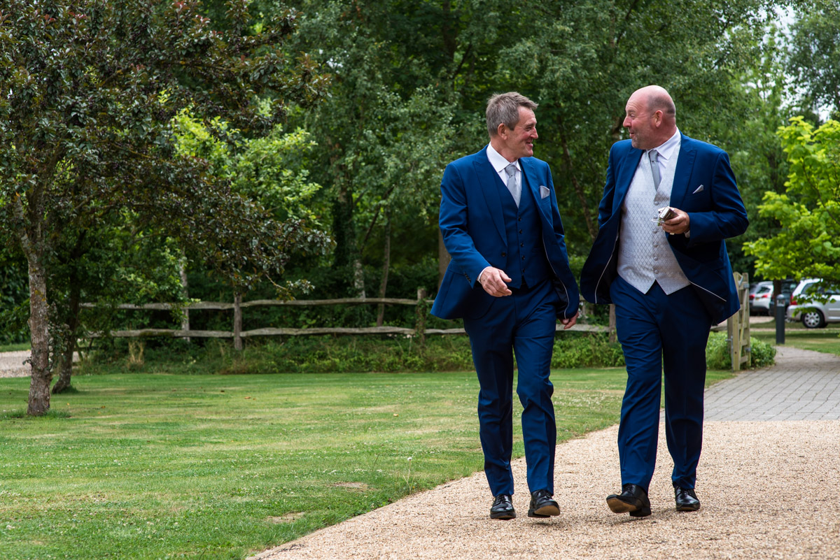 Martin and his best man before his wedding to Debbie at the Gardens Yalding in Kent